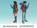 young man and girl. teen couple ...   Shutterstock .eps vector #1142969531