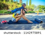 healthy family life  cute... | Shutterstock . vector #1142975891
