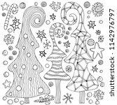 set of christmas hand drawn... | Shutterstock .eps vector #1142976797