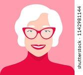 portrait of an old woman.... | Shutterstock .eps vector #1142981144