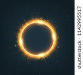 magic gold circle light effect. ...   Shutterstock . vector #1142995517