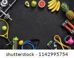 sports equipment and organic... | Shutterstock . vector #1142995754