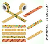 set of five washi tapes on... | Shutterstock .eps vector #1142998154