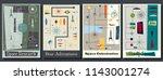 vector vintage mid century... | Shutterstock .eps vector #1143001274