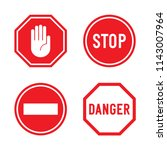 set of stop signs and danger... | Shutterstock .eps vector #1143007964