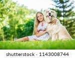 little girl with golden... | Shutterstock . vector #1143008744