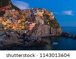 blue hour in manarola  one of... | Shutterstock . vector #1143013604