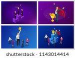 isometric winner business and... | Shutterstock .eps vector #1143014414