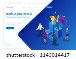 isometric winner business and... | Shutterstock .eps vector #1143014417