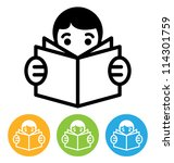 reading open book icon | Shutterstock . vector #114301759
