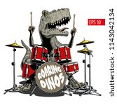 dinosaur playing drums.... | Shutterstock .eps vector #1143042134