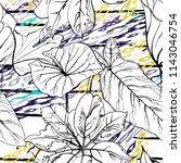 tropical  stripe  animal motif. ... | Shutterstock .eps vector #1143046754