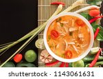 Stock photo tom yum gai or spicy tom yum soup with chicken authentic thai style food with ingredients 1143061631