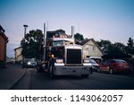 Haapsalu, Estonia - JUL 15, 2018: American Car Beauty Show Kenworth  truck 1978 in the city street - stock photo