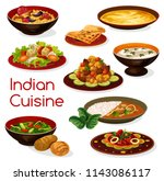 indian cuisine curry dishes ... | Shutterstock .eps vector #1143086117