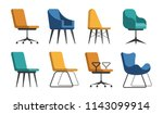 set of vector chairs of... | Shutterstock .eps vector #1143099914