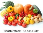 heap of autumn vegetables on... | Shutterstock . vector #114311239