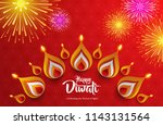 happy diwali. background with... | Shutterstock .eps vector #1143131564