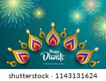 happy diwali. background with... | Shutterstock .eps vector #1143131624