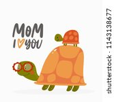 cute cartoon turtle. vector... | Shutterstock .eps vector #1143138677