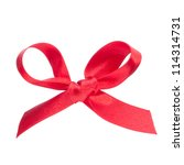 Festive red gift  bow isolated on white background - stock photo