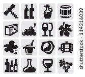 vector black wine icons set on... | Shutterstock .eps vector #114316039