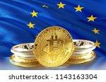 bitcoin coins on eu flag ...   Shutterstock . vector #1143163304