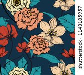 elegance pattern with flowers... | Shutterstock .eps vector #1143185957