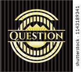 question golden emblem or badge | Shutterstock .eps vector #1143189341