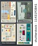 vector set of retro space... | Shutterstock .eps vector #1143193841