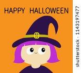 happy halloween. witch girl... | Shutterstock .eps vector #1143197477