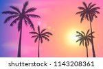 background with sunset sky and... | Shutterstock .eps vector #1143208361