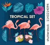 a set of tropical flowers ... | Shutterstock .eps vector #1143214094