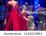 female model walks the runway... | Shutterstock . vector #1143215891