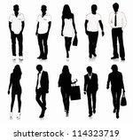 collection of people silhouettes | Shutterstock .eps vector #114323719