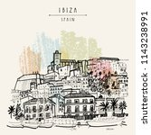 old city of ibiza town ...   Shutterstock .eps vector #1143238991