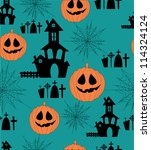 cute halloween seamless pattern.... | Shutterstock .eps vector #114324124