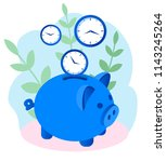 concept save time  money saving.... | Shutterstock .eps vector #1143245264