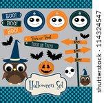 halloween set. vector... | Shutterstock .eps vector #114324547