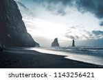 sunrise at famous black sand... | Shutterstock . vector #1143256421