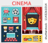 flat cinematography icons... | Shutterstock .eps vector #1143261014