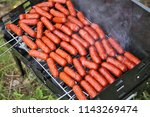 sausages of the small size are... | Shutterstock . vector #1143269474