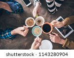 people drinking coffee high... | Shutterstock . vector #1143280904