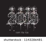 new years 2019 polygonal line... | Shutterstock . vector #1143286481