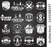 set of fitness and skate board... | Shutterstock .eps vector #1143288197