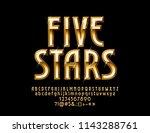 vector glossy emblem five stars.... | Shutterstock .eps vector #1143288761