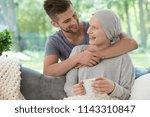 happy husband hugging his wife... | Shutterstock . vector #1143310847