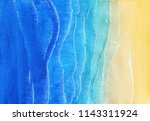 watercolor texture with blue sea and sand beach. view from above. illustration for cards, posters or other design