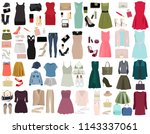 set of fashionable dresses ... | Shutterstock .eps vector #1143337061