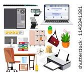 office equipment set vector. pc ...